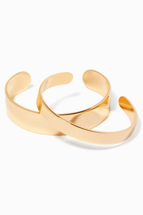 Gold Bar Cuff Bracelet Set