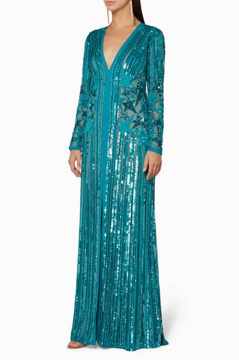 Dolphin-Blue Sequined Star Gown