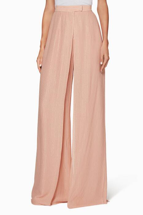 Blush Lurex Striped Pants
