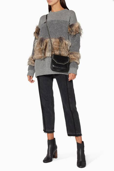 Grey Faux Fur-Trimmed Knit Sweater