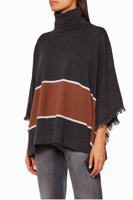 Black Lupetto Poncho