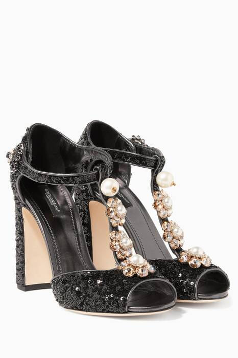 Black Keira Sequins & Pearl-Embellished Sandals