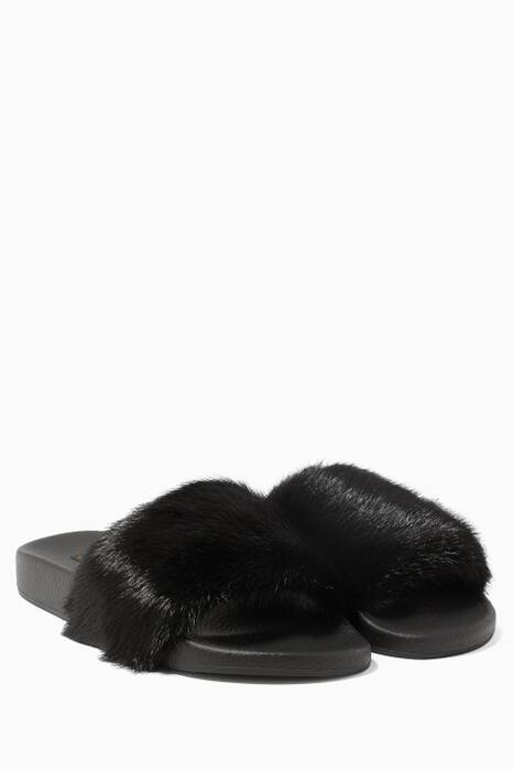 Black Mink-fur Slippers