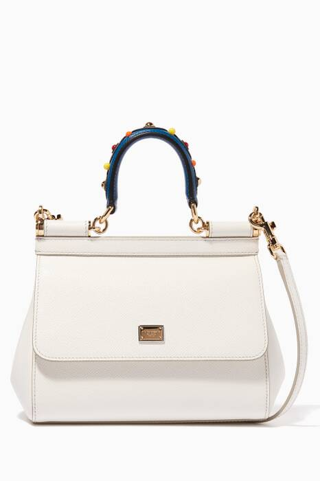 White Small Dauphine Leather Miss Sicily Bag