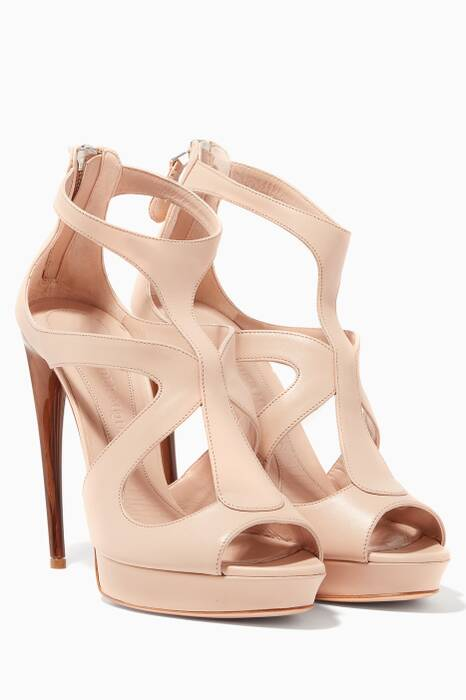 Beige Cut-Out Platform Sandals
