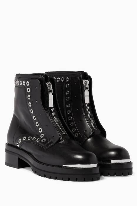 Black Leather Eyelet Biker Boots