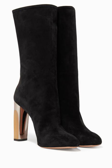 Black Suede Metallic Boots