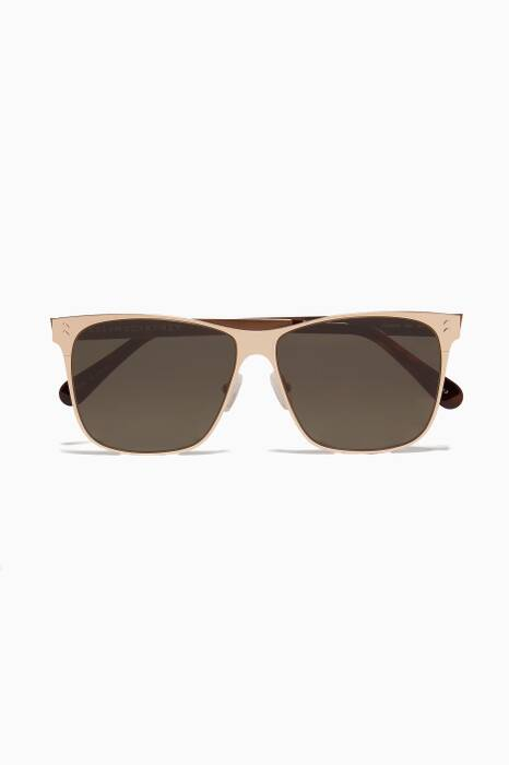 Gold Square Metal Aviator Sunglasses