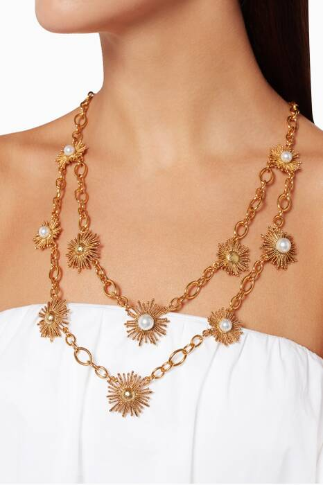 Gold Pearl Sun Star Necklace