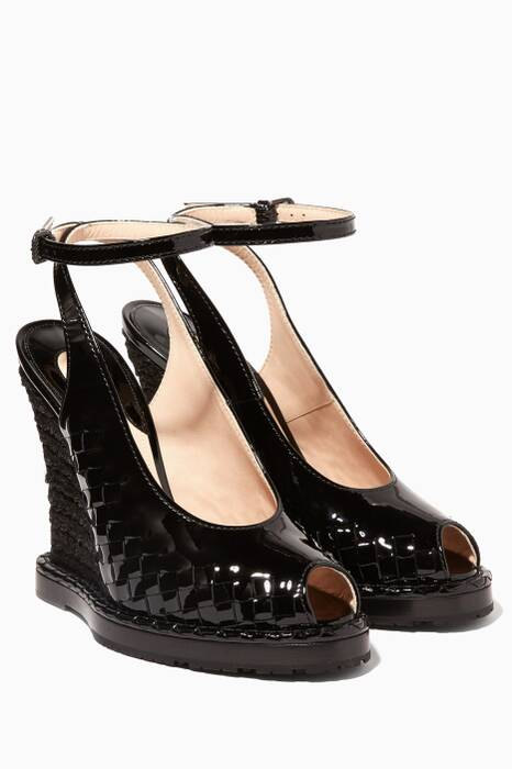 Black Patent Leather Intrecciato Wedges