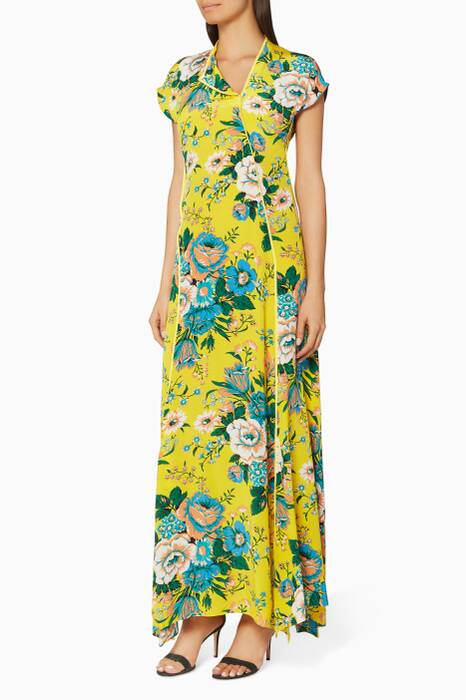 Acid Yellow Bournier-Print Floral Maxi Dress