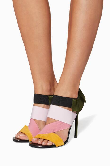 Multi-Coloured City Leather Ruffle Sandals