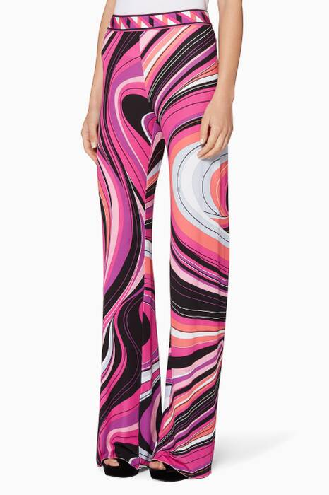 Pink Waves Palazzo Trousers