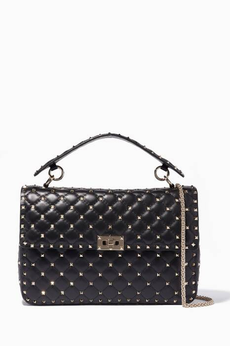 Black Large Spike Stud Matelassé Shoulder Bag