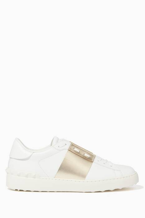 Gold Striped Open Sneakers