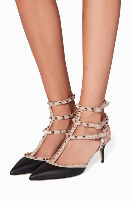 Black Rockstud Two-tone Leather Pumps