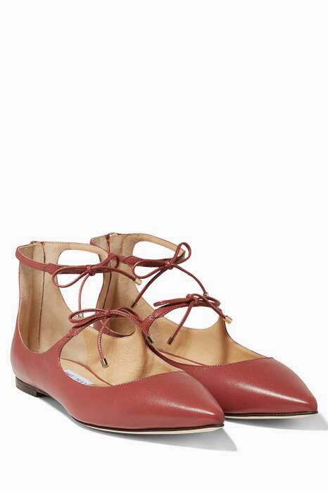 Vintage Rose Sage Leather Flats