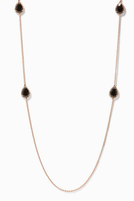 Rose-Gold Sautoir Serpent Bohème Onyx Necklace