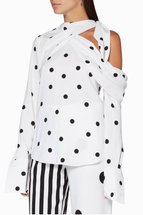 White Polka-Dot Cold-Shoulder Blouse