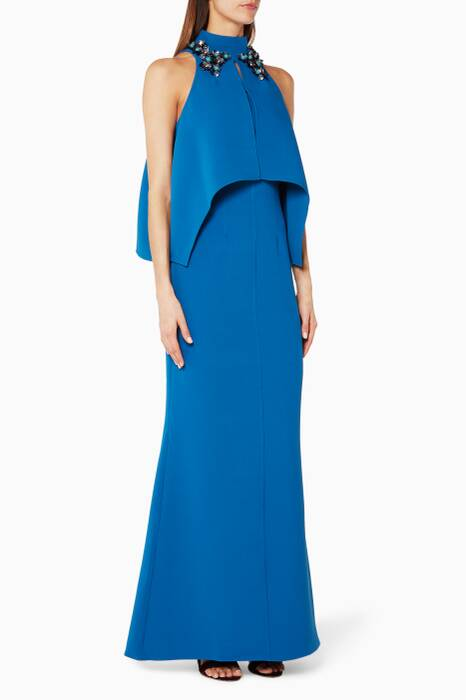 Blue Strapless Gown & Embellished Cape Shoulder