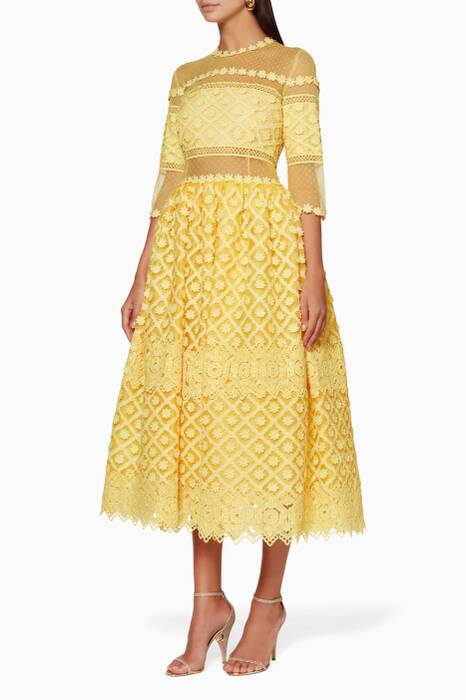Yellow Mesh & Lace Dress