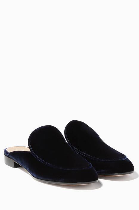 Dark-Blue Palau Velvet Backless Loafers