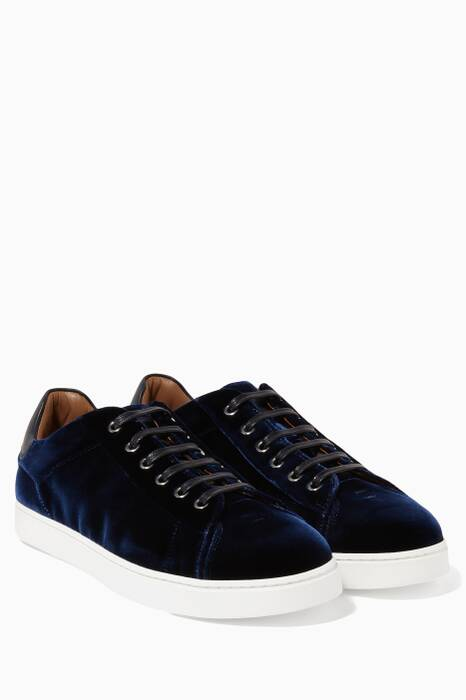 Dark-Blue Velvet Low-Top Sneakers