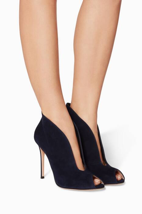 Dark-Blue Peep-Toe Suede Boot