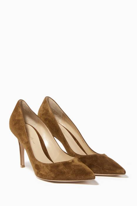 Brown Gianvito Suede Pumps