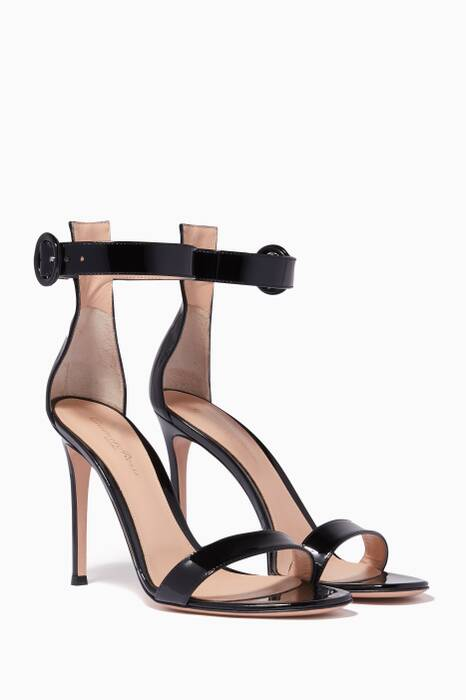 Black Portofino Patent Leather Sandals