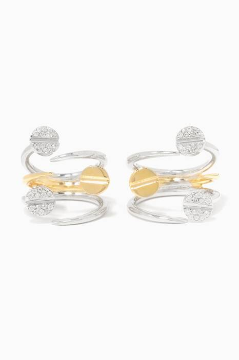 Gold & White Rhodium-Plated Two Nail Rings