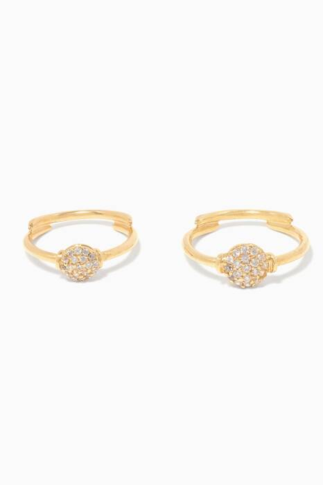 Gold Set of Two Crsytal Rings
