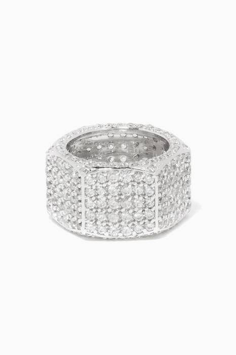 White Rhodium-Plated Nut Ring