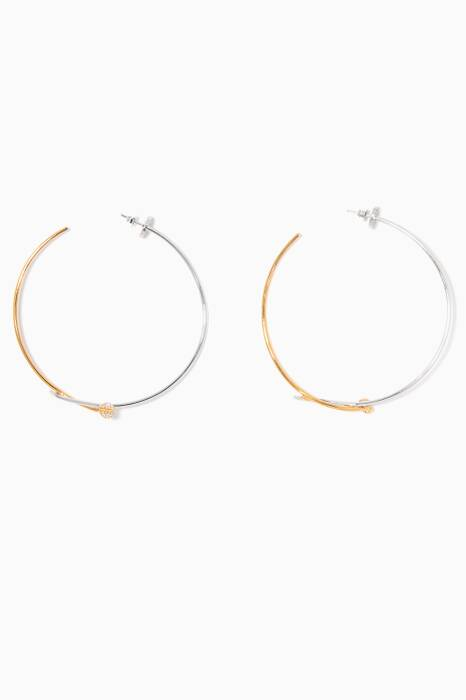 Gold & White Rhodium-Plated Hoop Earrings