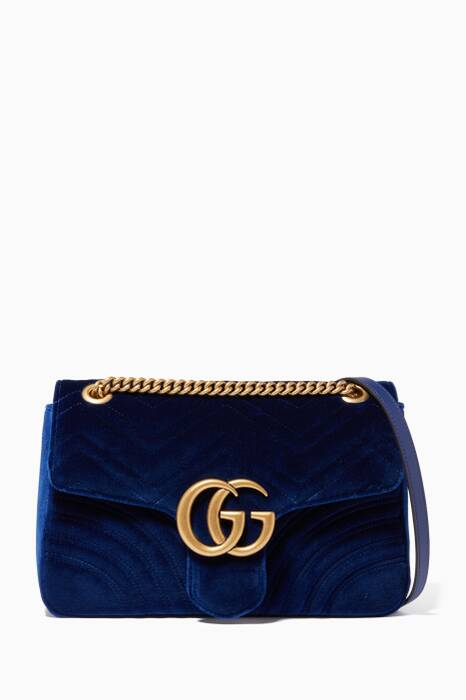 Blue GG Medium Marmont 2.0 Velvet Shoulder Bag