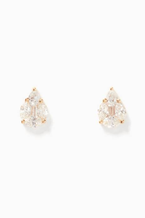 Yellow-Gold & Diamond Tear Earrings