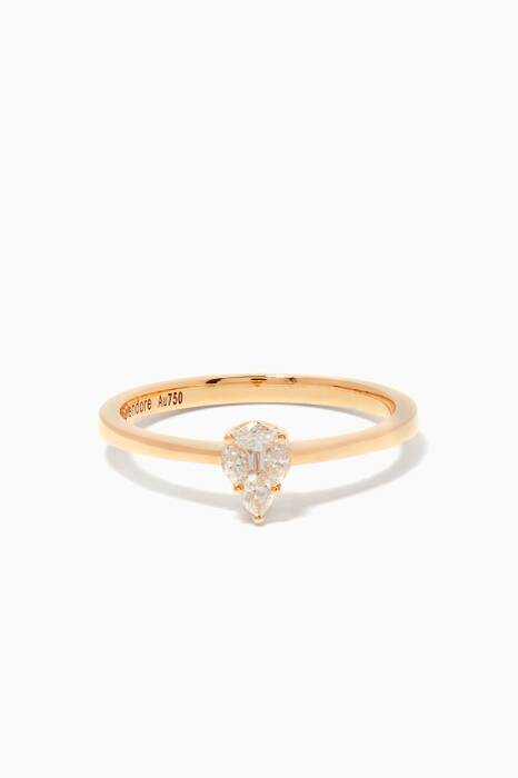 Yellow-Gold & Tear-Drop Diamond Ring
