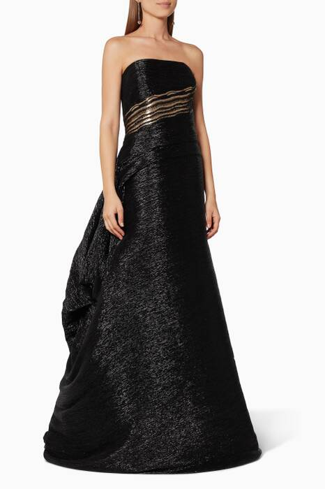 Black Beaded Body Metallic Gown