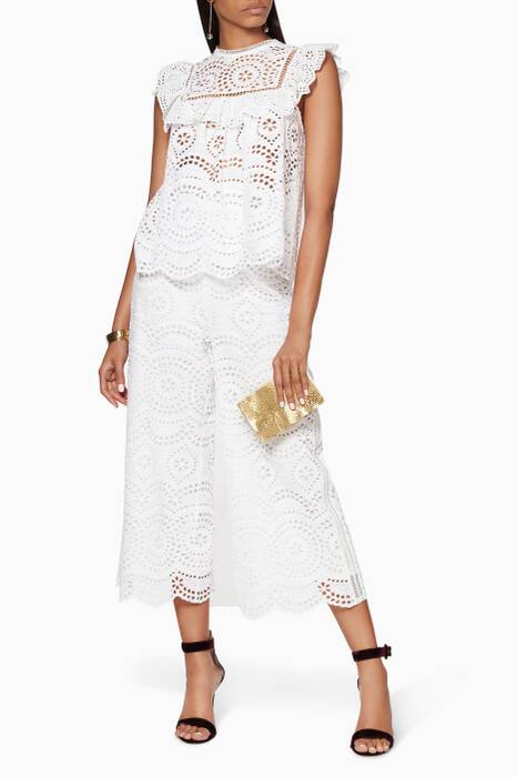 White Meridian Embroidered Crop Pant