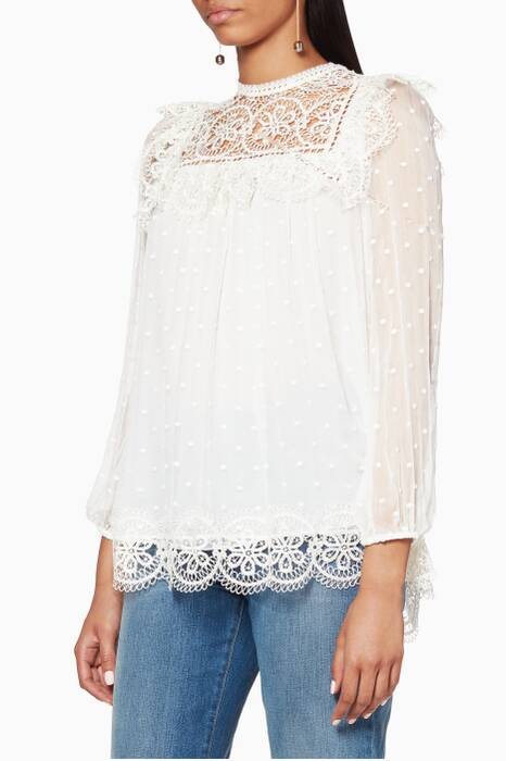 White Meridian Circle Lace Top