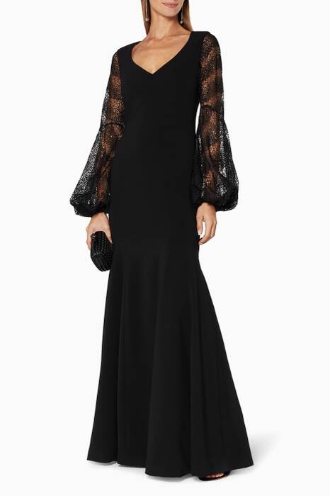 Black V-Neckline Sequin Embellished Gown