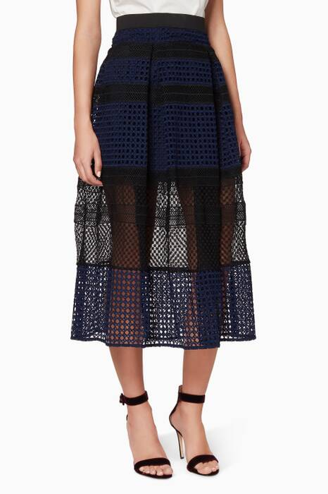 Navy Crosshatch Panelled Skirt