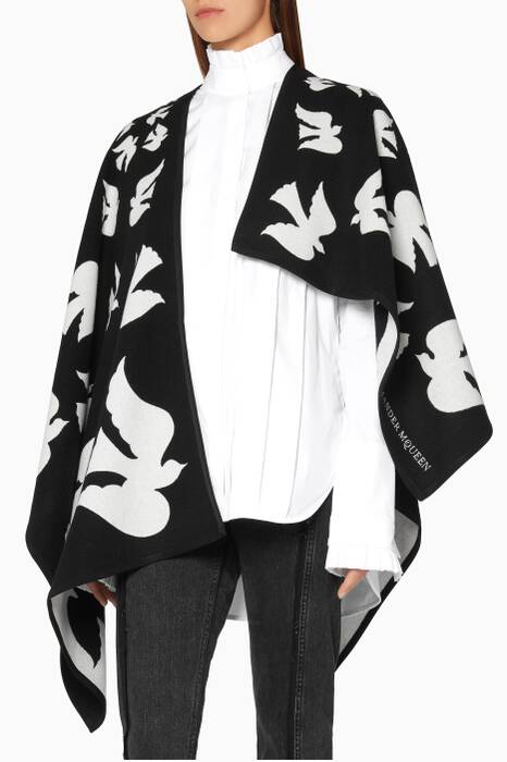 Black and White Dove Motif Cape