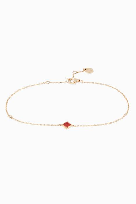 Yellow-Gold, Red Agate & Diamond Cleo Anklet