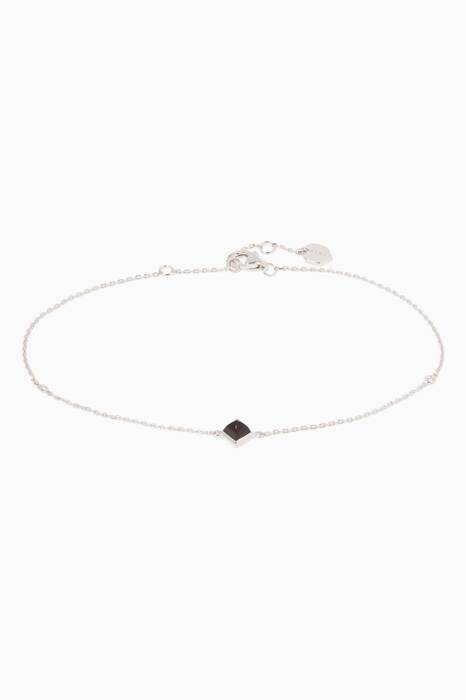 White-Gold Black Onyx Anklet
