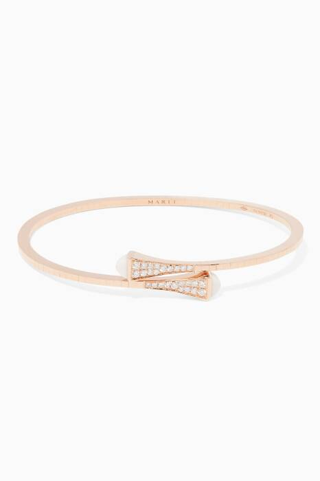 Rose-Gold, White Agate & Diamond & Cleo Bangle