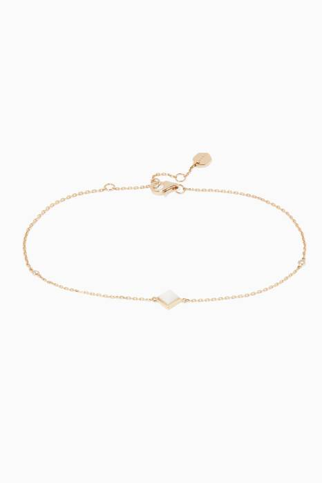 Yellow-Gold, White Agate & Diamond Cleo Anklet