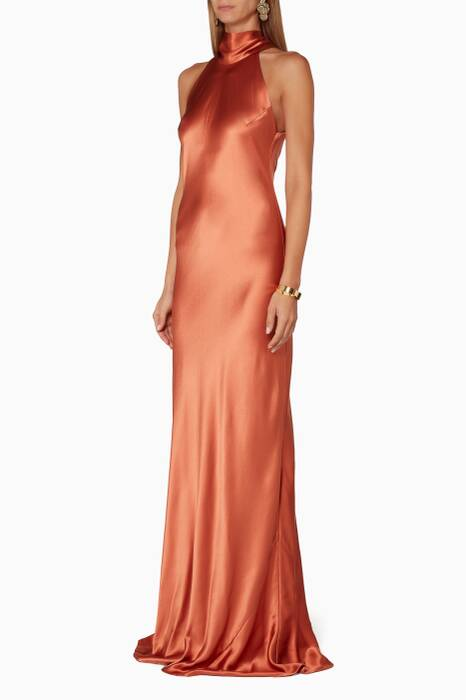 Copper Sash Neck Gown