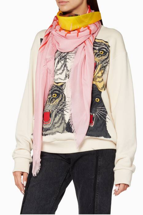 Pink Angry Tiger-Print Scarf