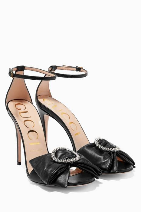 Black Leather Swarovski Crytstal Charlotte Sandals